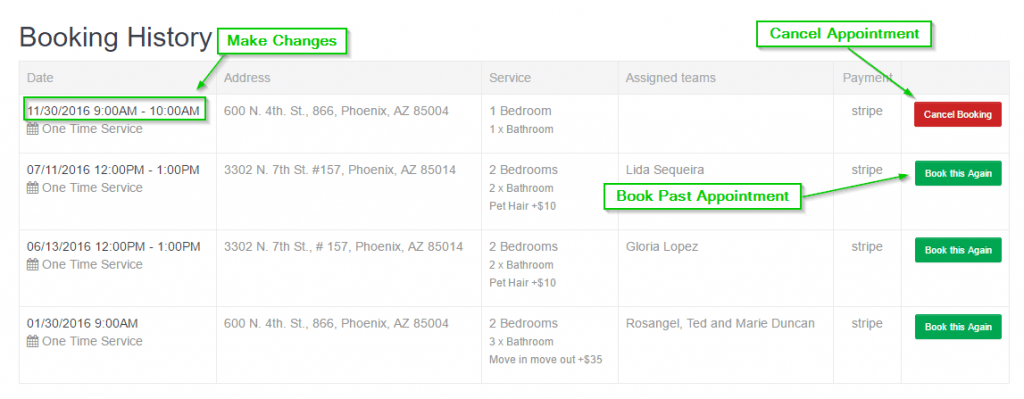 booking history page
