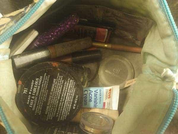 makeup spilled in bag