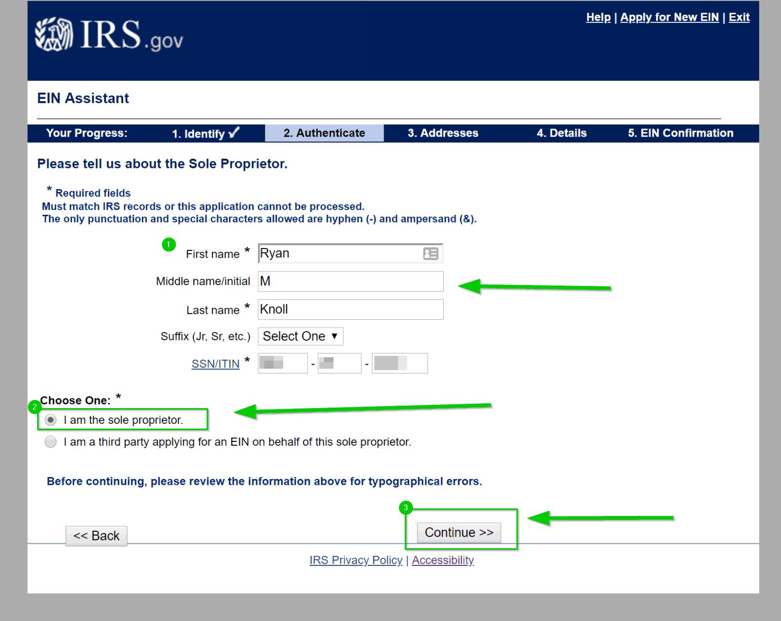 EIN Name info