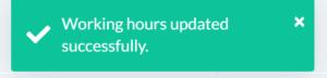Working hours updated window