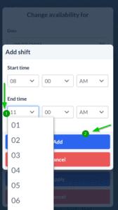 Add shift pop up window
