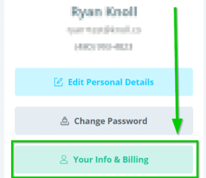 Your info and billing button